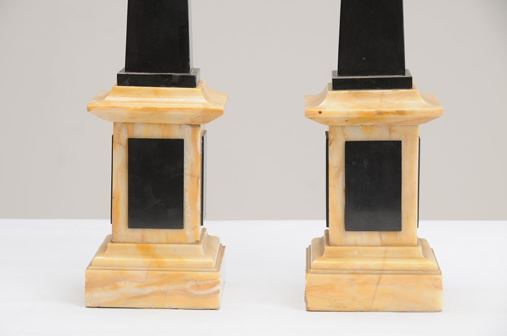 PAIR OF NEOCLASSICAL STYLE BLACK SLATE & MARBLE - 6