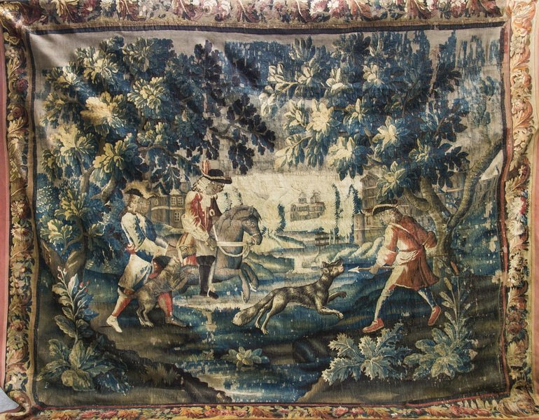 FLEMISH BAROQUE HUNTING TAPESTRY
