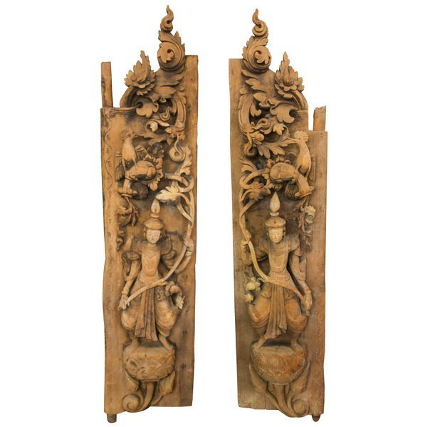 PAIR OF BURMESE SHRINE SIDE PANELS