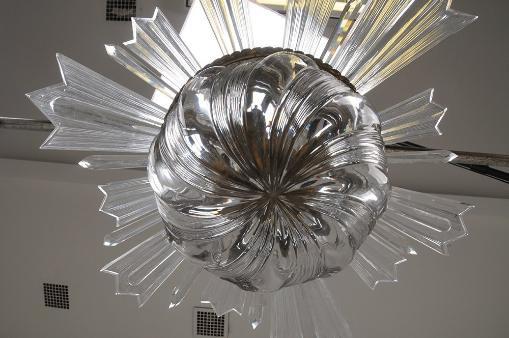 FRENCH MOLDED GLASS CRYSTAL FIXTURE - 2