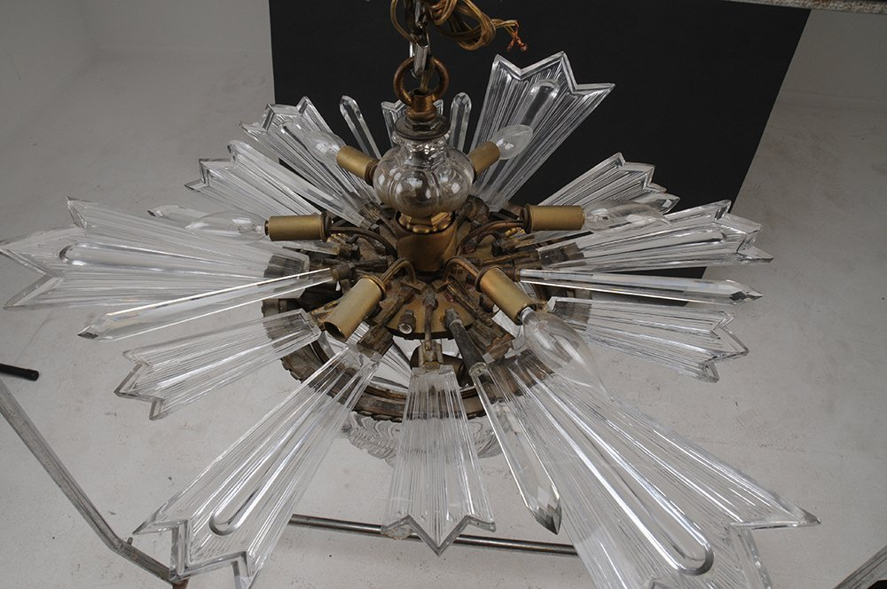 FRENCH MOLDED GLASS CRYSTAL FIXTURE - 3