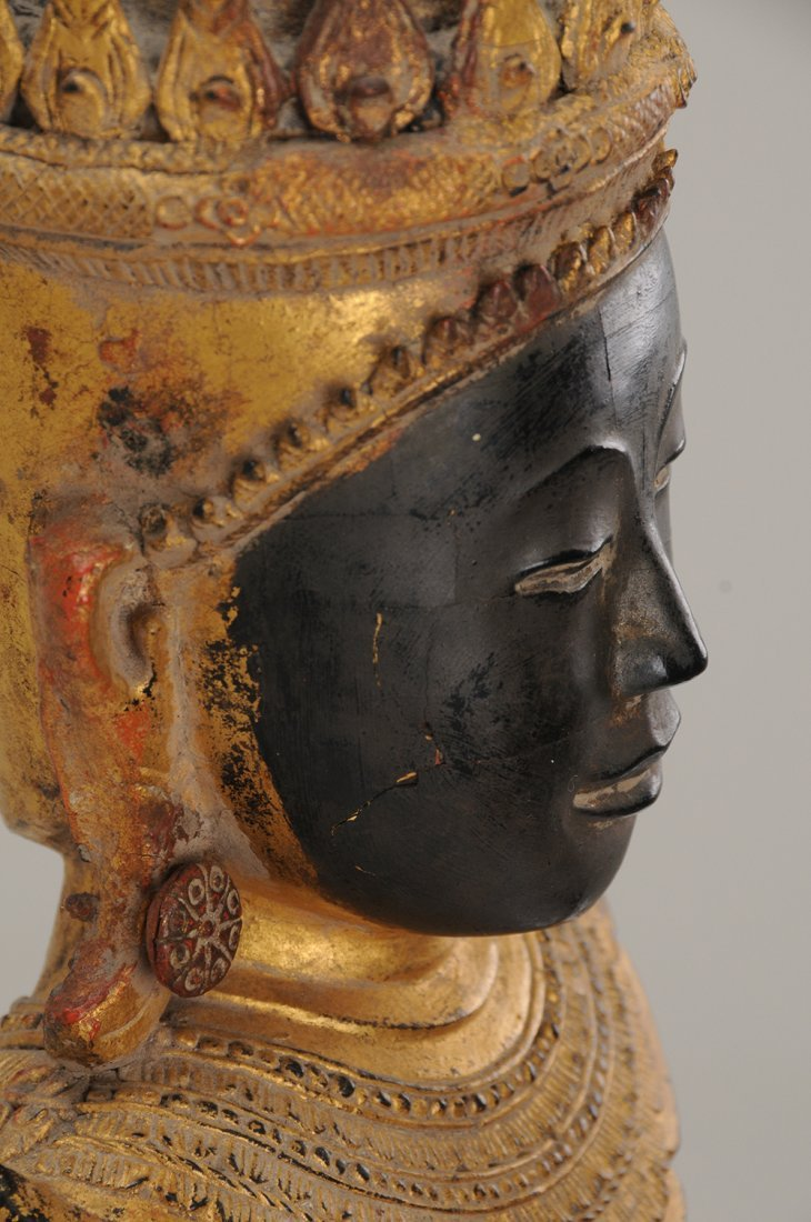 THAI CARVED WOOD BUDDHA - 2