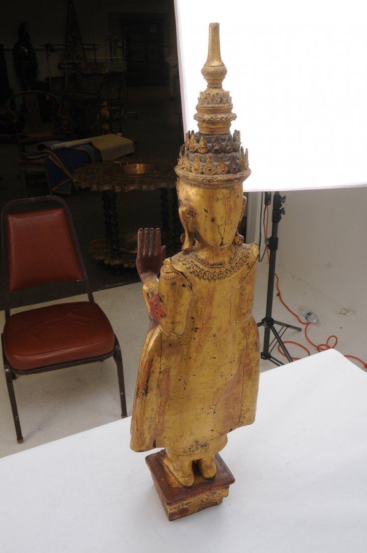 THAI CARVED WOOD BUDDHA - 5