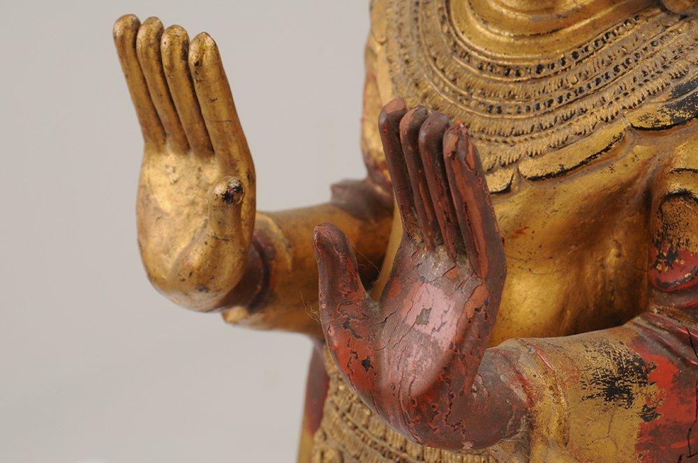 THAI CARVED WOOD BUDDHA - 8
