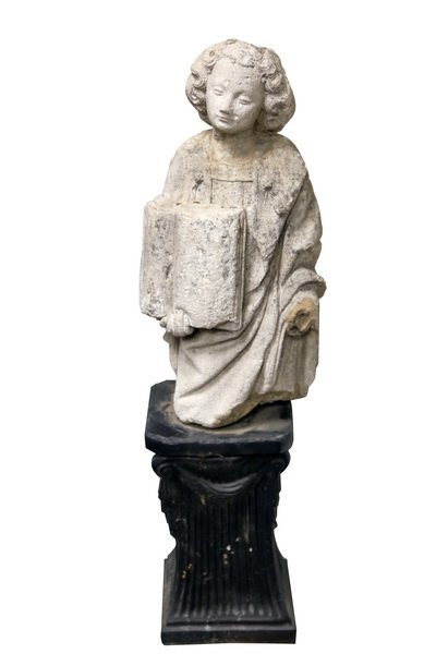 CARVED STONE FIGURE OF ST. ETIENNE