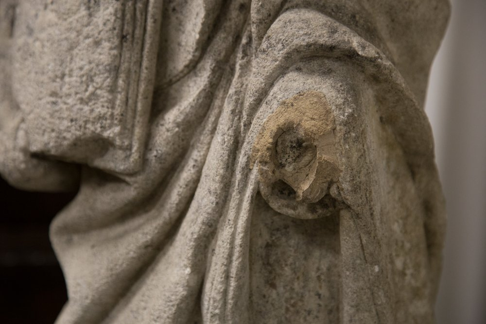CARVED STONE FIGURE OF ST. ETIENNE - 2
