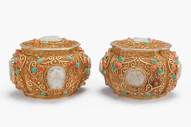 PAIR OF CHINESE GILT SILVER, WHITE JADE, &
