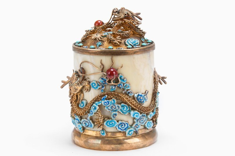 CHINESE ENAMELED GILT SILVER & STONE COVERED BOX