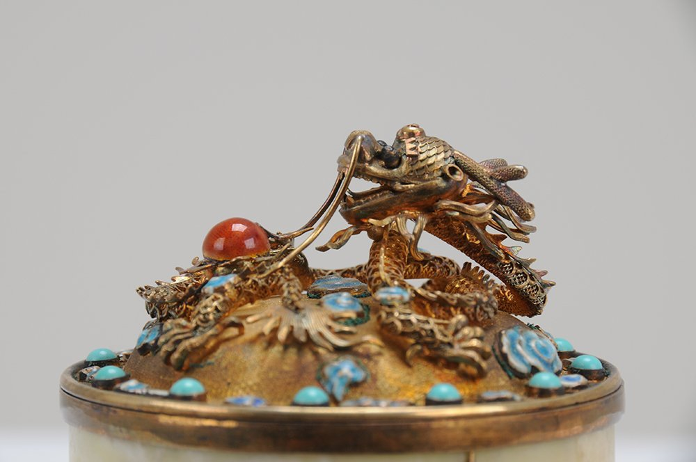 CHINESE ENAMELED GILT SILVER & STONE COVERED BOX - 9