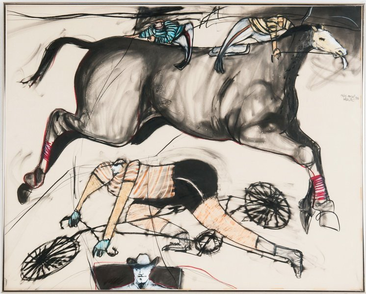 "FELIX ANGEL: ""HORSE, CYCLIST, AND COWBOY"""