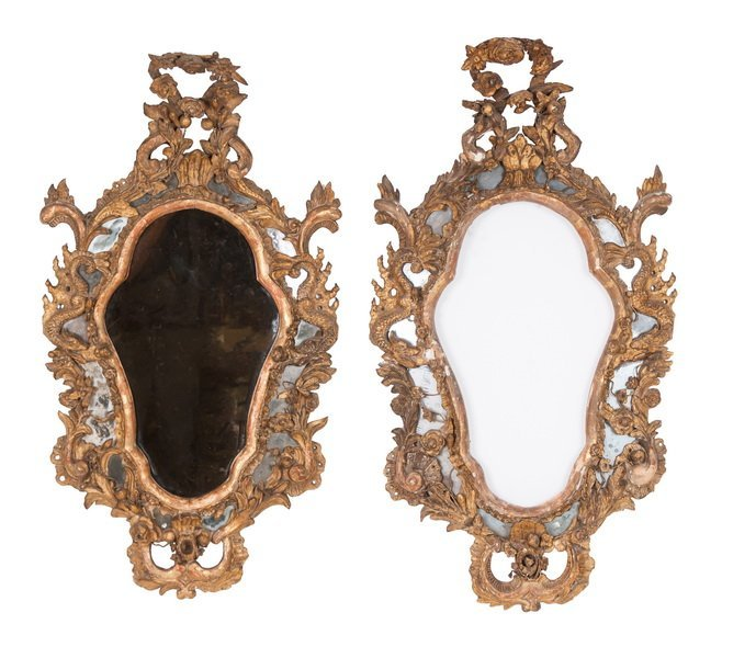 PAIR OF ITALIAN ROCOCO CARVED & GILTWOOD MIRROR FRAMES
