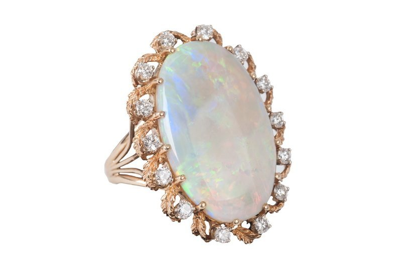 14 KARAT GOLD, WHITE OPAL & DIAMOND RING