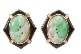 PAIR OF 14 KARAT GOLD, JADEITE, & ENAMEL EARRINGS