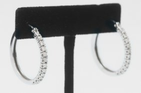 PAIR OF 14 KARAT WHITE GOLD & DIAMOND HOOP EARRINGS