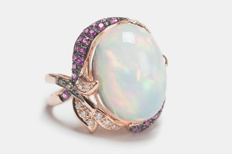 14 KARAT ROSE GOLD, OPAL, & GEMSTONE RING