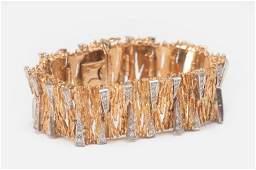 18 KARAT YELLOW AND WHITE GOLD  DIAMOND BRACELET WITH