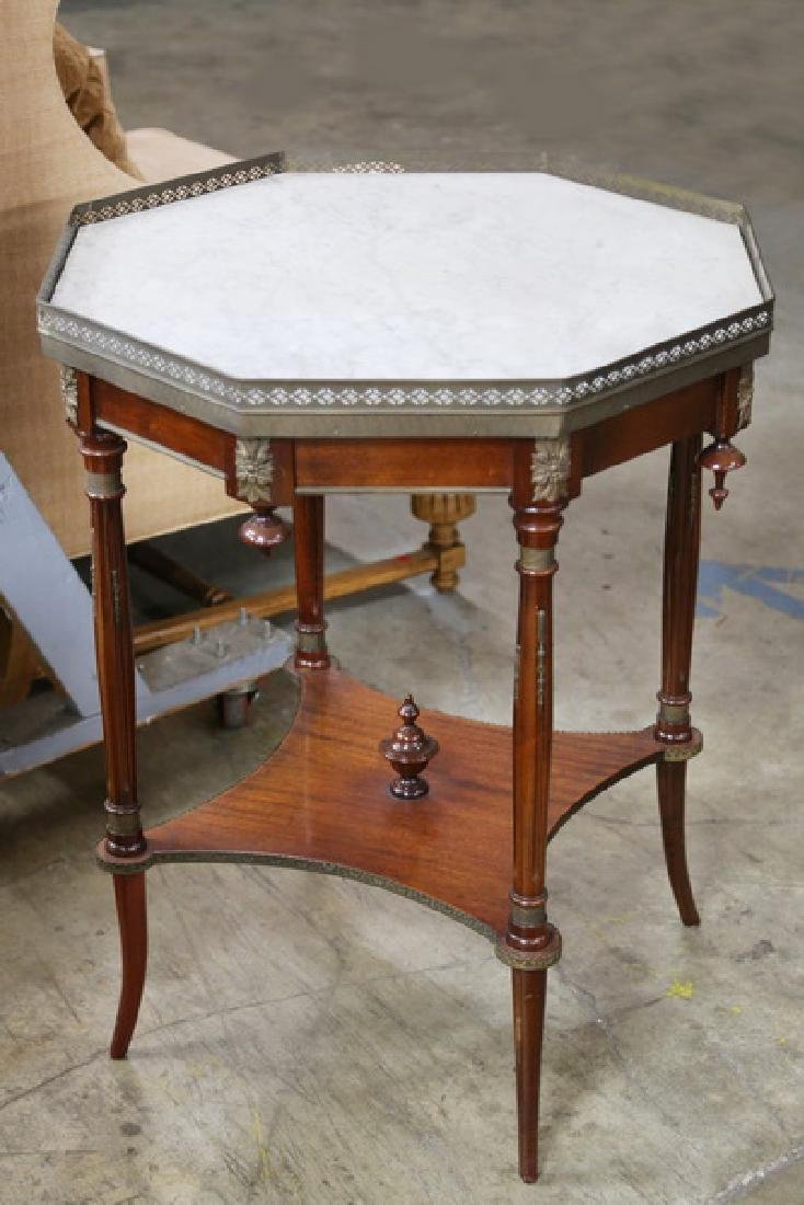 NEOCLASSICAL STYLE MAHOGANY MARBLE-TOP TABLE