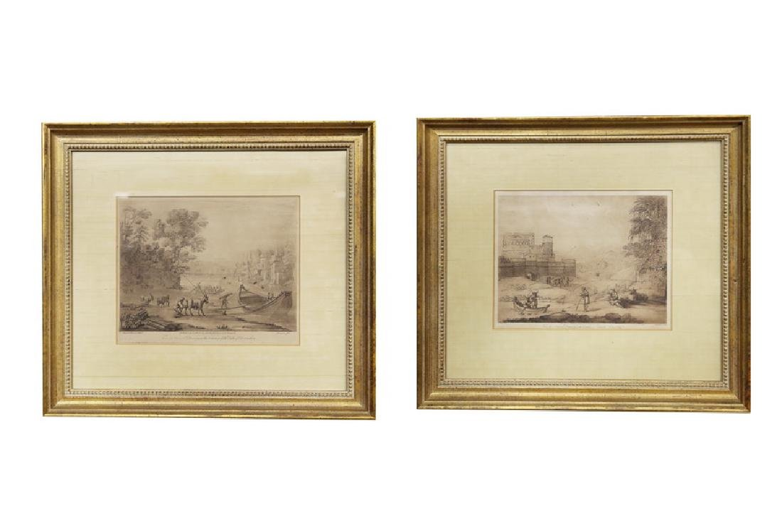 """AFTER CLAUDE LE LORRAIN: """"A PAIR OF FRAMED ENGRAVINGS"""""""
