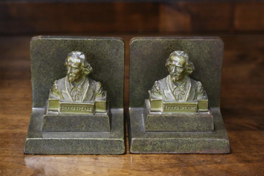 PAIR OF BOOKENDS DEPICTING SHAKESPEARE