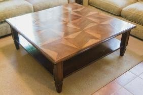 CUSTOM PARQUETRY TOP COFFEE TABLE