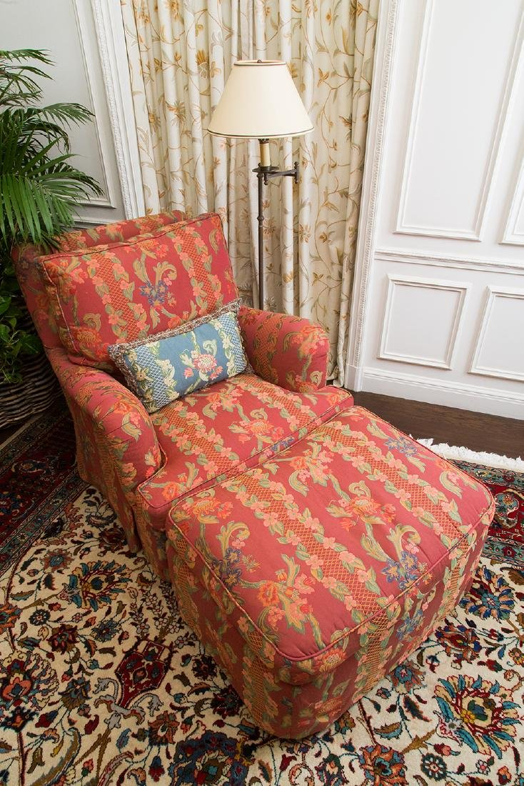 FLORAL UPHOLSTERED CLUB CHAIR & OTTOMAN