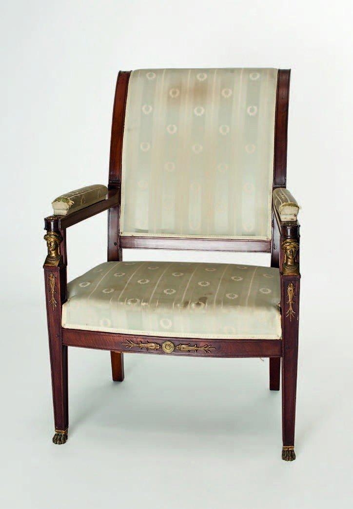4: French mahogany Empire armchair