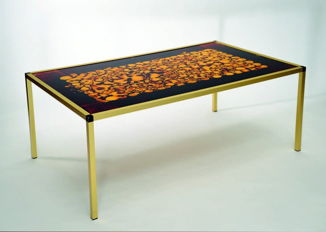 7: German 1970's glass top table