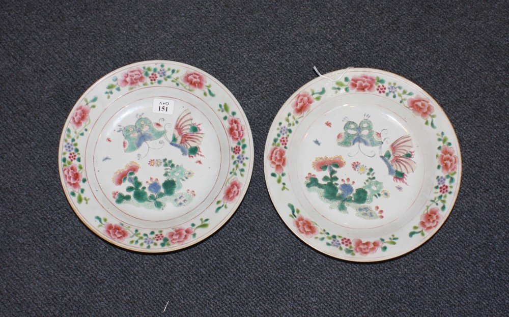 151: A pair of Chinese Export famille rose dishes