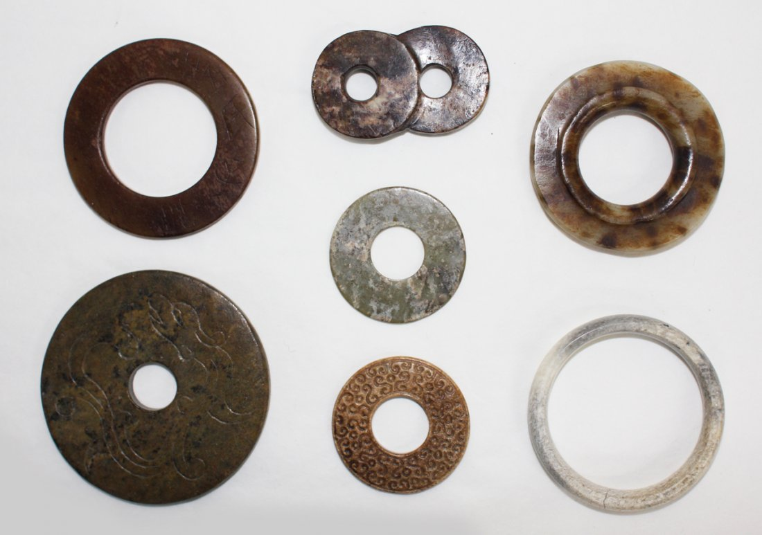 103: Seven Chinese jade 'bi' discs