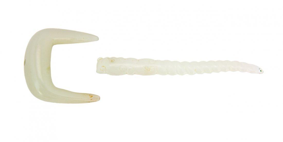 106: Two Chinese pale celadon jade pendants