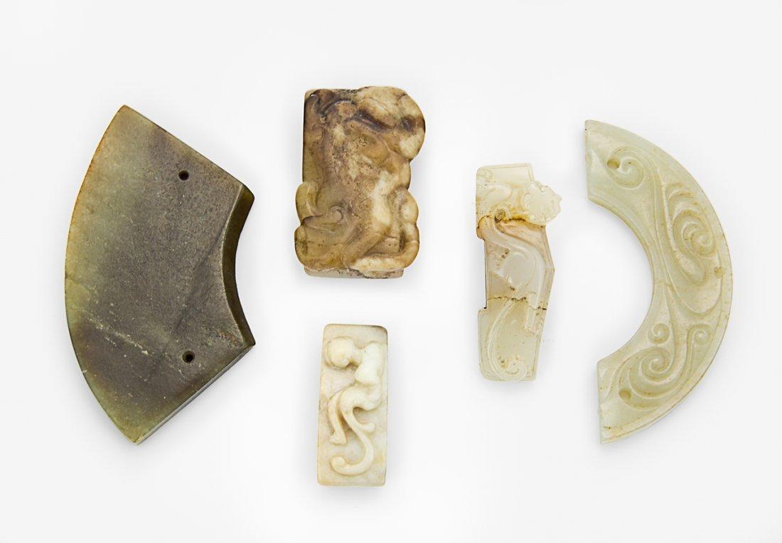 116: Three Chinese archaistic jade sword slides