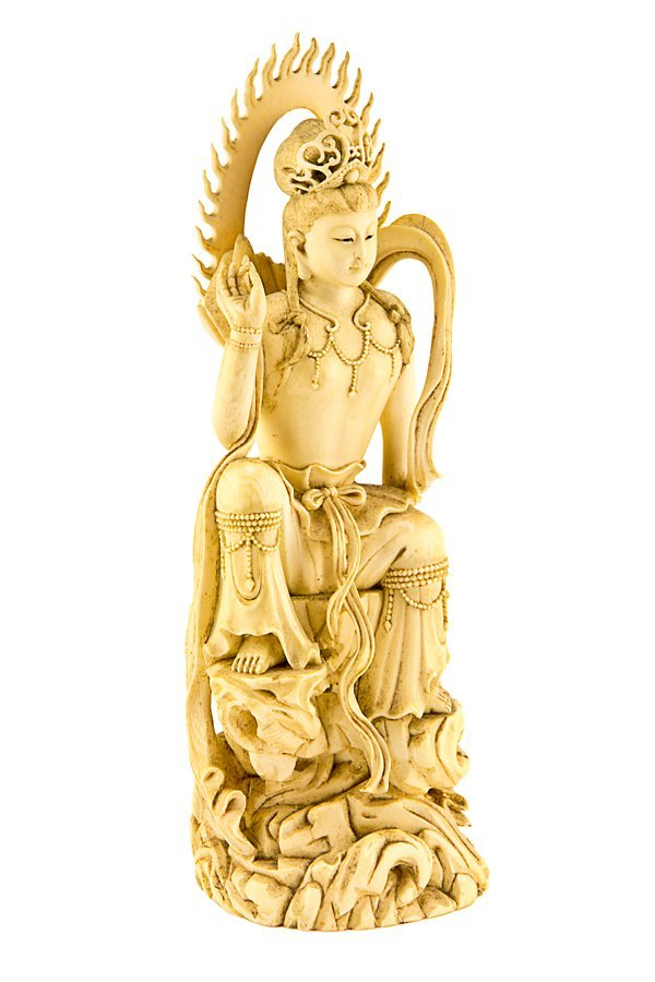151: Chinese carved ivory figure of Guanyin