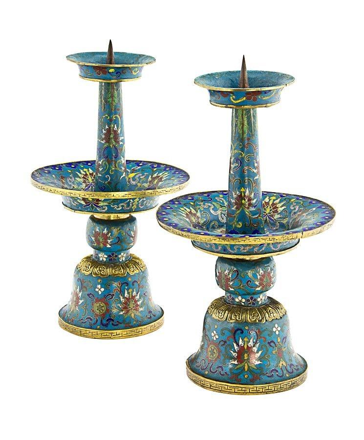 277: Pair of Chinese cloisonné enamel candlesticks