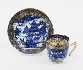 Chinese export blue and white cup and saucer