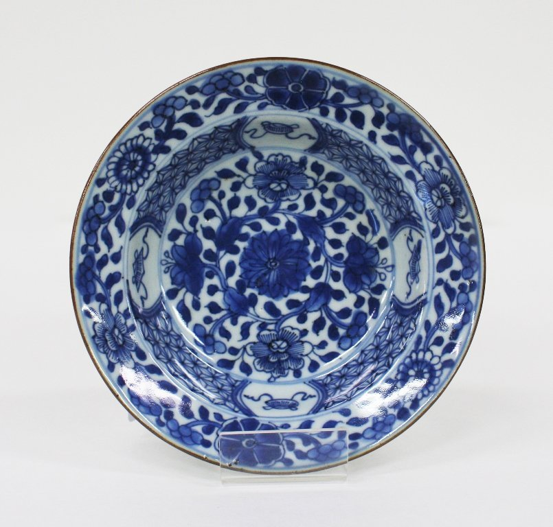 Small Chinese export blue and white deep dish