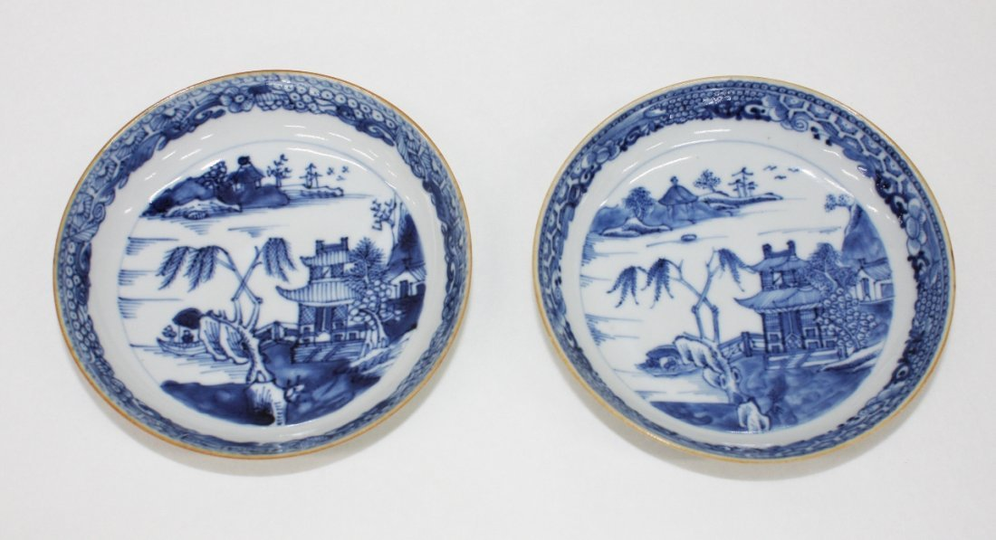 Pair of Chinese export blue and white saucers