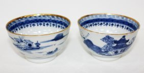 Pair of Chinese export blue and white tea bowls