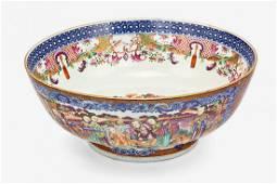 Large Chinese export Mandarin pattern punch bowl
