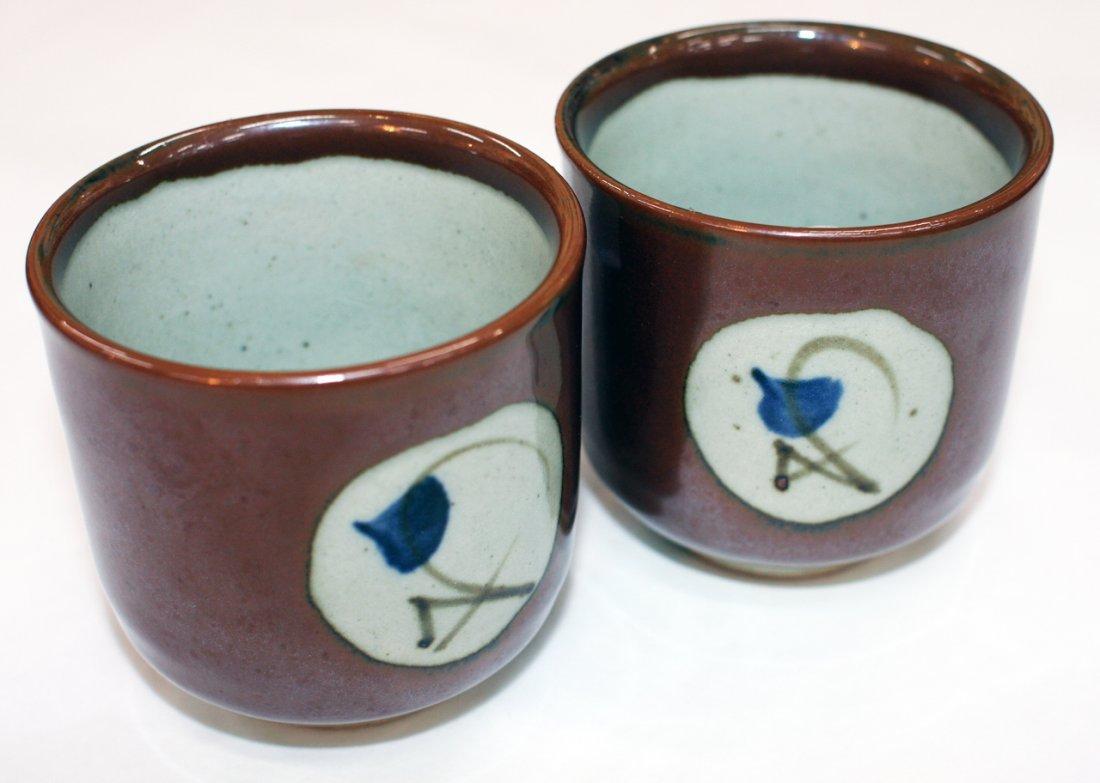 Pair of Mashiko pottery stoneware unomi
