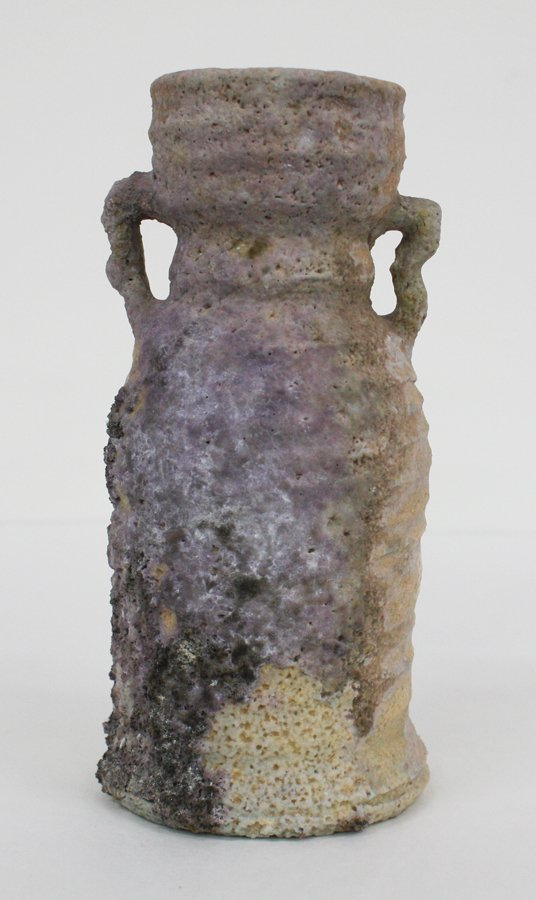 Japanese Bizen pottery handled vase