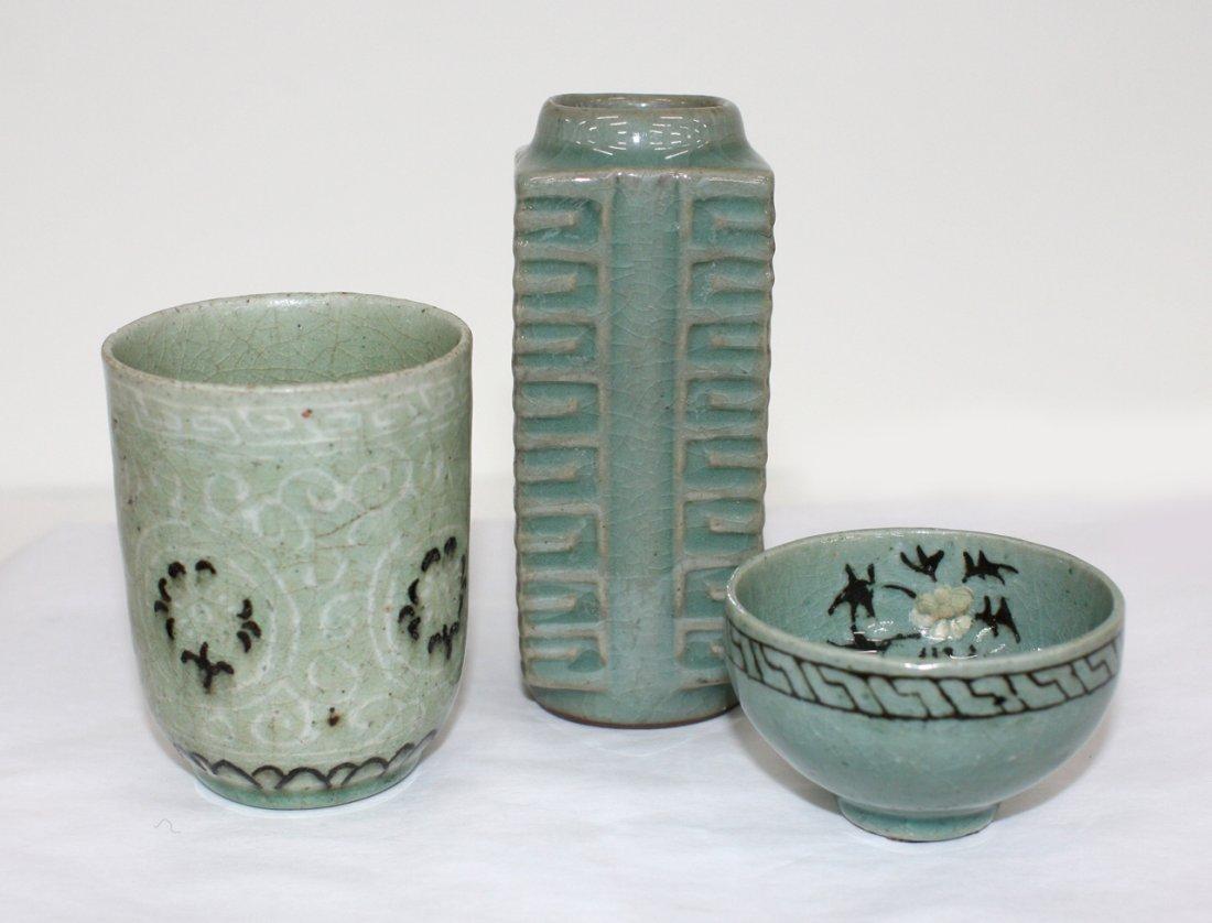 Three small Korean celadon vessels