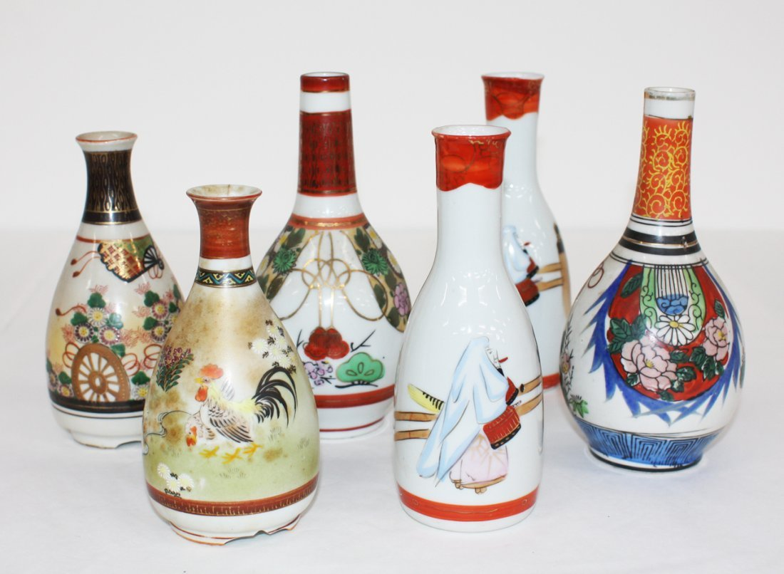 Collection of 6 assorted Japanese Kutani sake flasks