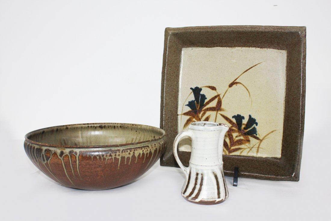 Japanese Mashiko stoneware platter of square form