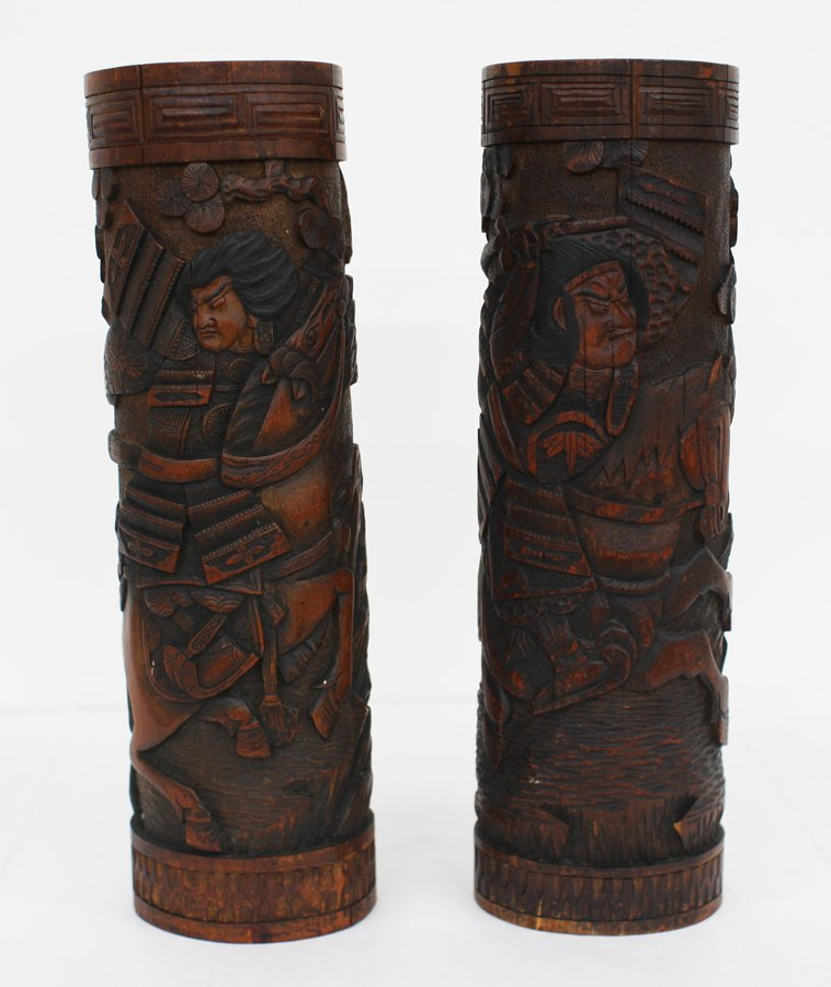Pair of large Japanese bamboo cylinders