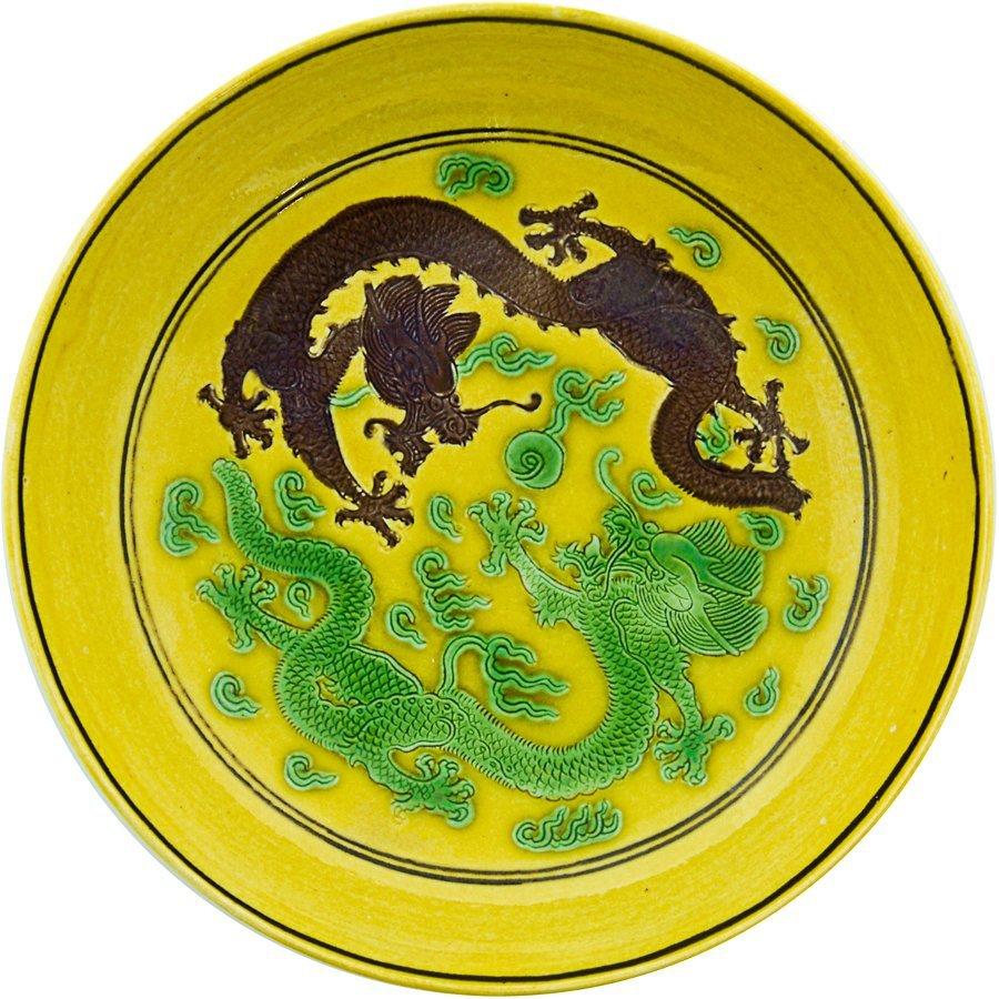 Fine Chinese yellow ground dragon dish,