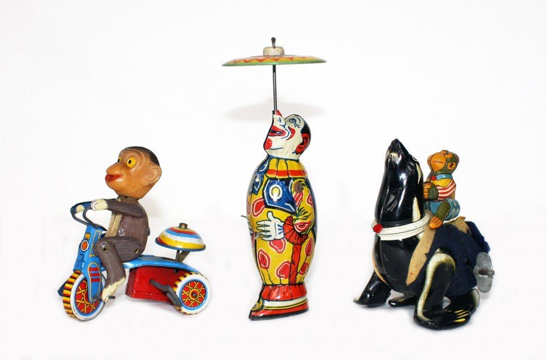 3 Circus Theme Tin Toys
