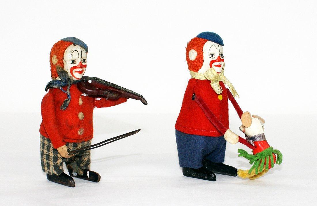Shuco, 2 clown figurines