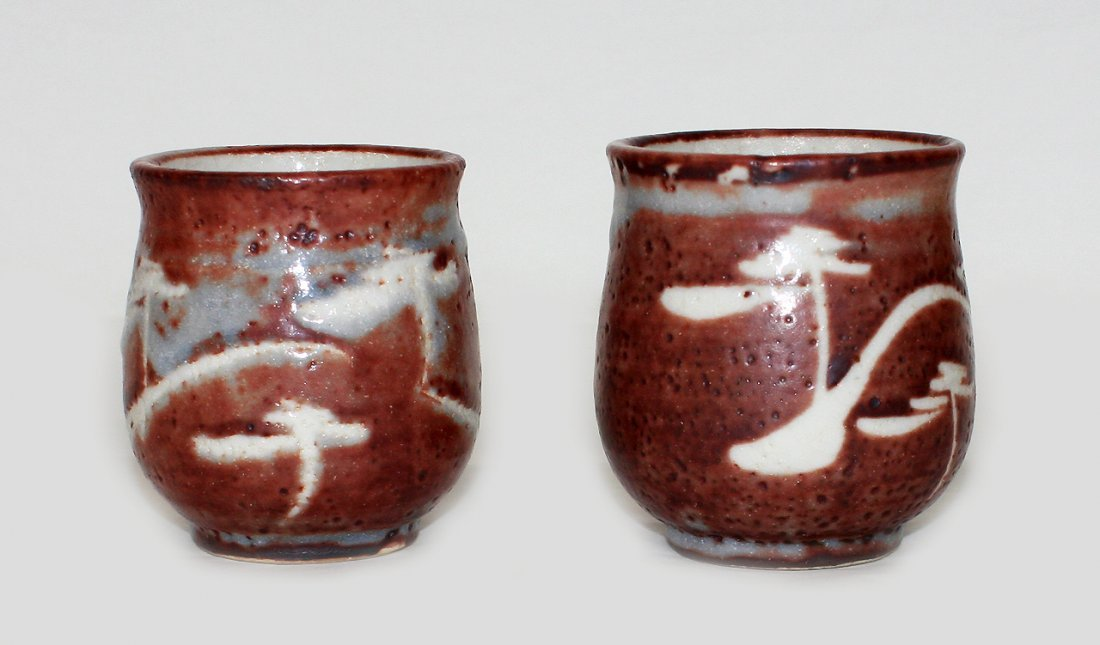 Two Japanese stoneware yunomi
