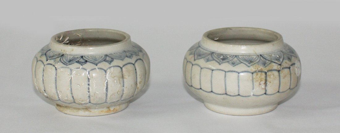 Two Chinese blue and white shipwreck jarlets