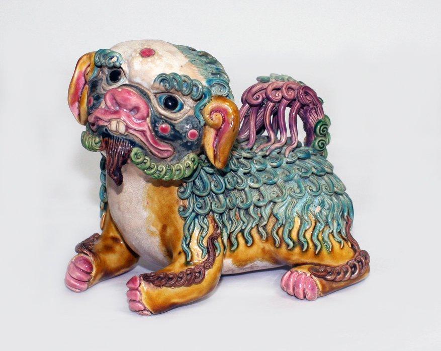 Chinese Shiwan pottery Buddhist lion